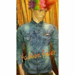 Denim Full Sleeves Designer Shirt, Size: M, L and XL