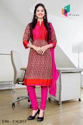 Orange and Pink Italian Crepe Uniform Salwar Kameez