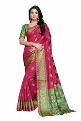 Festive Wear Pure Banarasi Silk Sarees, Length: 6.3 m (with Blouse Piece)