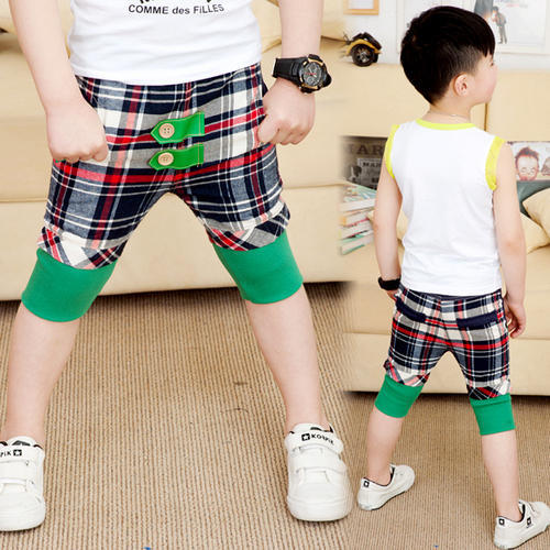 Check Designs Cotton And Polyester Fabrics Boys Capris, | ID: 20404808933