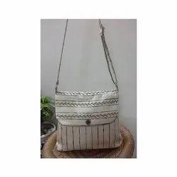 Handmade Linen Stripe Sling Bag