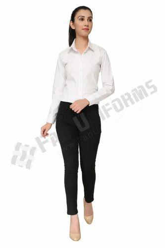 Fab Uniforms Full Sleeve White Corporate Shirt For Girls