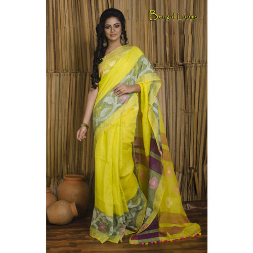 8ddf4e9fee Pure Handloom High Thread Count Linen Jamdani Saree in Greenish Yellow