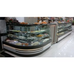 Stainless Steel Curved Glass Display Counter