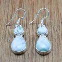 Larimar Gemstone Handmade Earrings Jewelry 925 Sterling Silver WE-6049