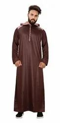 Rust Brown Color Premium Imported Quality Polyester Hood Style Kurtas Jubba Thobe For Men