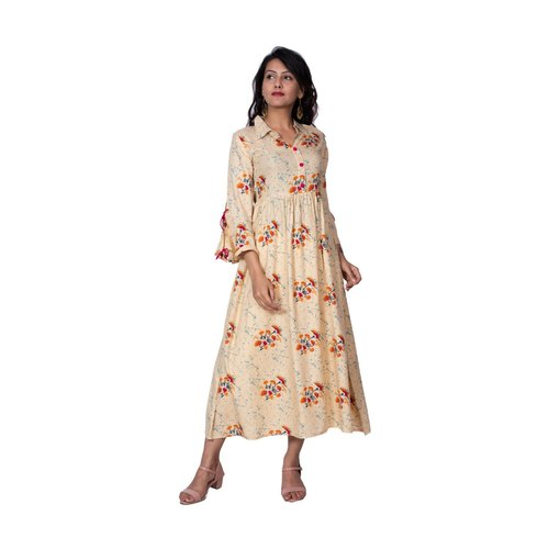 Casual Wear Floral Printed Cotton Kurti, Size: S-XXL
