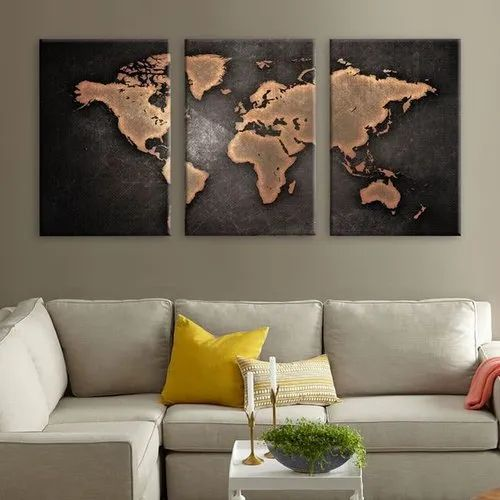 three panel world map 3 Panel World Map Framed Canvas Print Size 12 X 24 Inch Rs 1999