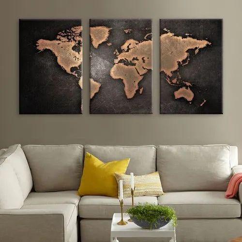 3 Piece Canvas World Map.3 Panel World Map Framed Canvas Print क नवस प नल