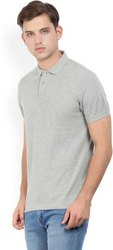 Polo Neck Grey Plain T Shirt