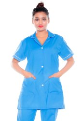 Plain HP19 Sky Blue Nurse Uniform Coat, For Hospital