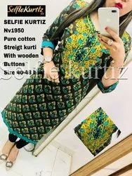 NV 1950 Pure Cotton Streigt Kurti with Wooden Button