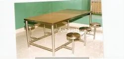 ashitesh Silver Stainless Steel Dining Table with Stool, For Restaurant