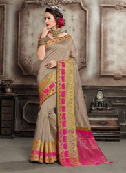 Handloom Cotton Mix Thankar Latest Heavy Pure Silk Saree, 6.3 m (with blouse piece)