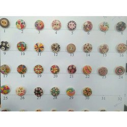 Round Printed Wooden Button, for Garments