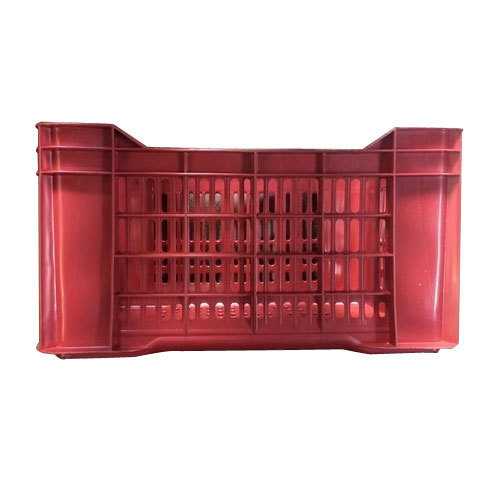 Rectangular Red Plastic Vegetable Crate