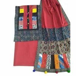 Cotton Unstitched Ajrakh Print Patch Work Dupatta Suit