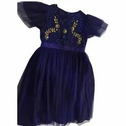 Recycle Poly Lycra, Net Blue Party Wear Kids Frock, Size: Small to Large, Age: 4-5 Year