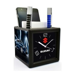 Pen And Mobile Holder Table Clock