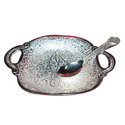 Silver Plated Tray With Spoon