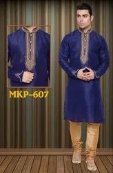 Mens Heavy Neck Embroidery Stonework Ethnic Kurta Pyjama