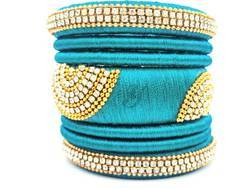 Sky Blue Designer Silk Thread  Bangle Set
