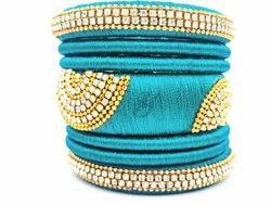 Sky Blue Designer Silk Thread  Bangle Set
