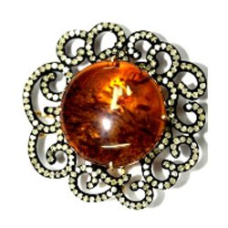Citrine Diamond Brooch