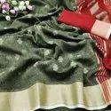 Original Khadi Linen With Jari Butta And Zari Border Saree