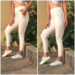 White Cotton Ladies Plain Legging