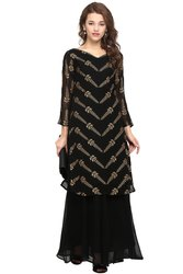 Party Wear Combo Of Georgette Kurti With Palazzo