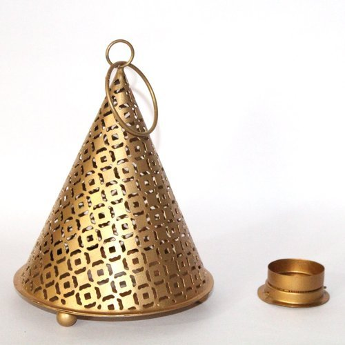 Decorative Designer Antique Gold Metal Triangle Lantern
