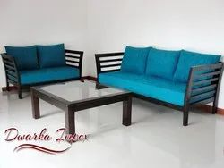 Brown Rectangular 5 Seater Wooden Sofa Set, For Hotel, Size/Dimension: Standard