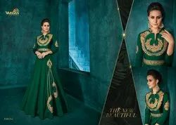 Vardan Present Rozi Gold Vol 1 Silk Embroidery Long Gown Collection