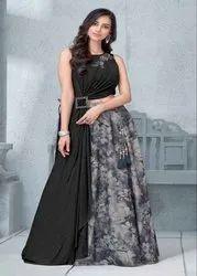 Grey Semi-Stitched Indian Lehenga Choli For Wedding