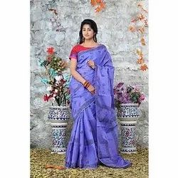 Cotton Casual Wear Blue Hand Block Printed Saree, 6.3 m (with blouse piece)