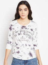 Women's Round Neck 100% Cotton Spray Printed T-Shirt