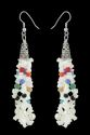 White Glass Chips With Multi Glass Beads, Pearl Beads & Cris Cap Earrings