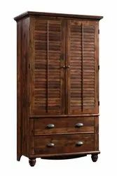 Soni Art Exports Brown Color Solid Wood Almira With 2 Gate & 2 Drawer 40x22x75 inch