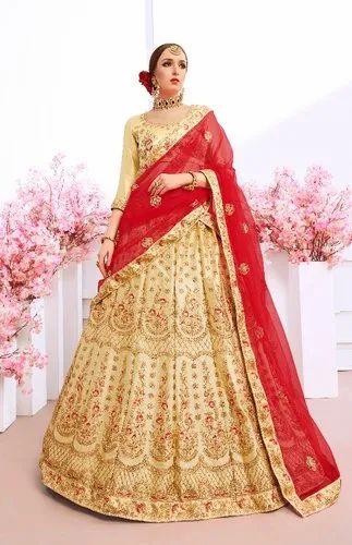 c5e2d84429 Lehenga Choli - Designer Bridal Beige Wedding Silk Lehengha With Net ...
