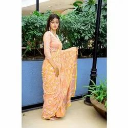 Ladies Party Wear Cotton Embroidered Saree, Length: 6 m (with blouse piece)