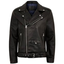 Full Sleeve Casual Jackets Mens Black Leather Jacket