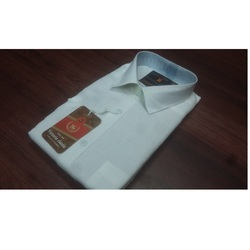White Cotton/Linen Mens Shirt