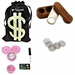 Rosewood Monkey Pipe/American Design Tobacco Pipe 2 Inch Incl. Accessories and Velvet Pouch