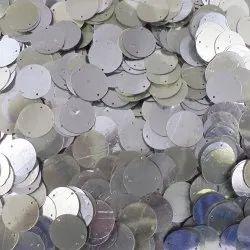Eshoppee 1kg 9mm Silver Colour Round Shape Sequins Sitara