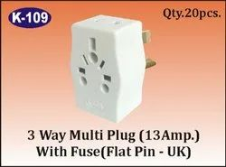 K-109 3 Way Multi Plug (13 A) With Fuse