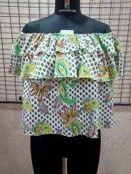 Ladies Printed Ruffle Off Shoulder Top