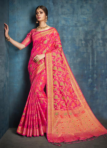 f69859663b5 Designer Banarasi Silk Wedding Wear Saree