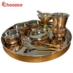 Choozee - Copper Thali Set (10 Pcs) of Thali, Bowl, Spoon, Matka Glass and Ice-Cream Cup