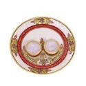 Decorative Marble Pooja Thali with Deepak